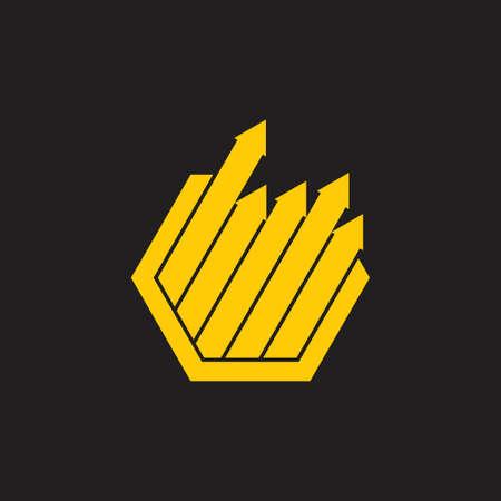 hexagonal arrow up geometric chart symbol logo vector Ilustração