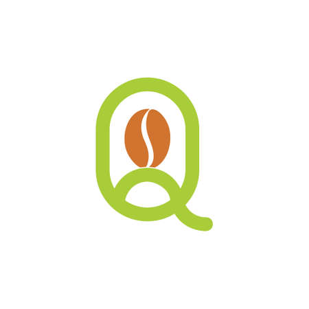 letter q simple lines coffee bean logo vector