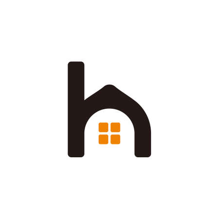 letter h lowercase simple home shape symbol vector  イラスト・ベクター素材