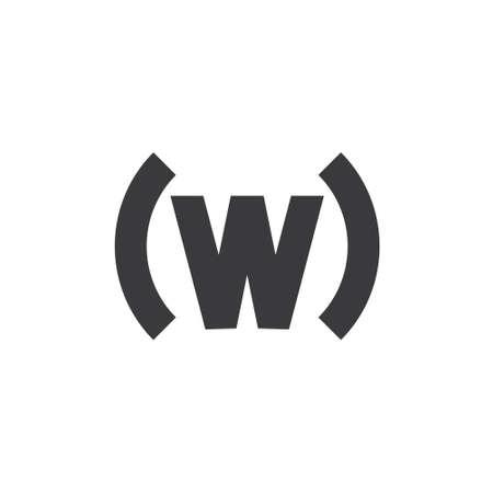 letter w parenthesis design logo vector