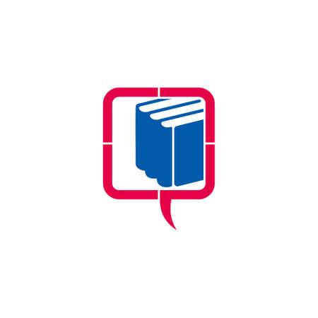 circle education process bubble talk book symbol logo vector