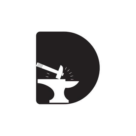 letter d spark iron hammer blacksmith symbol logo vector