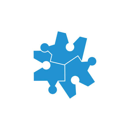 linked puzzle simple logo vector