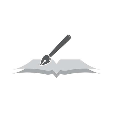 pen ink and book education symbol logo vector