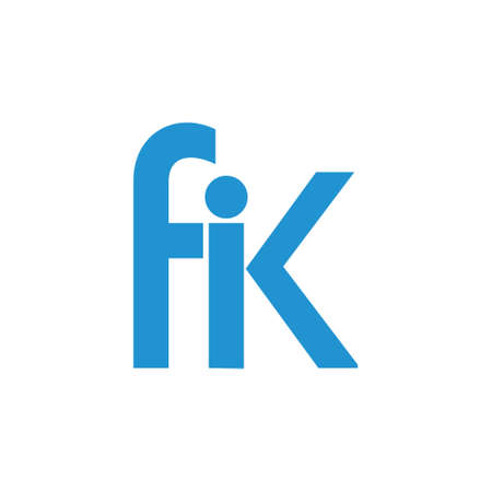 letter fik linked geometric simple logo vector