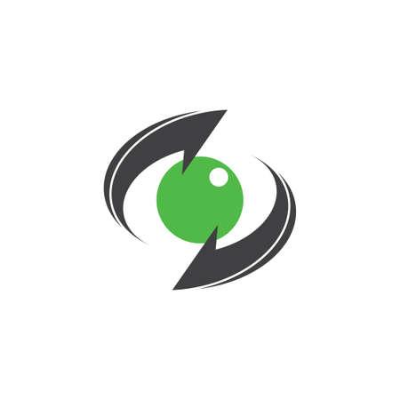 global green earth circle rotation arrows brand logo vector
