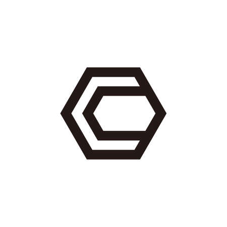 letter c simple geometric hexagonal line logo vector 矢量图像