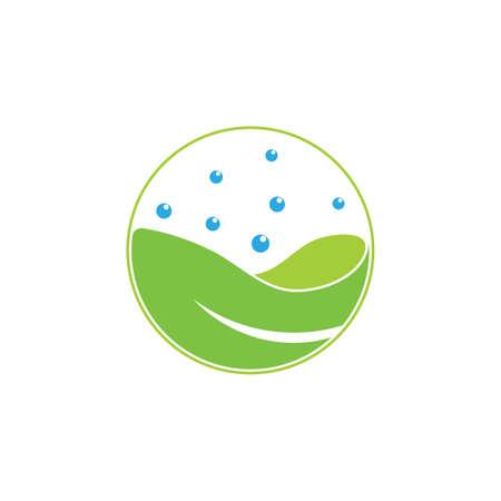 dew and green leaf circle geometric 3d logo