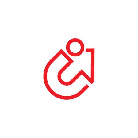 letter ic arrow up simple geometric line logo vector