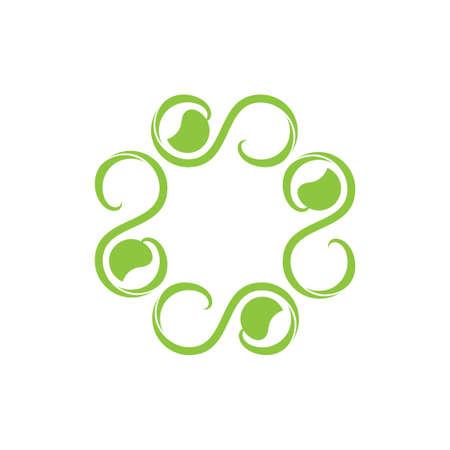 swirl spiral leaf curves design logo vector