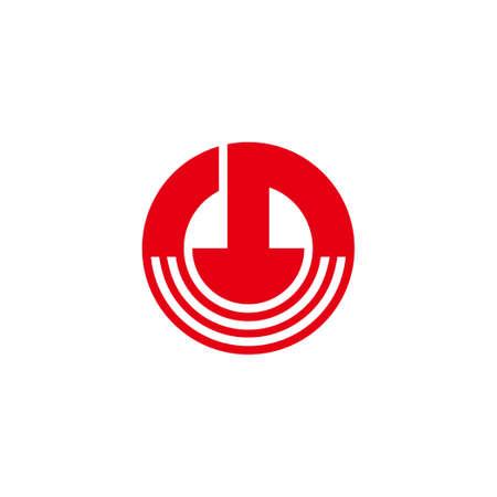 power button stripe circle geometric logo vector