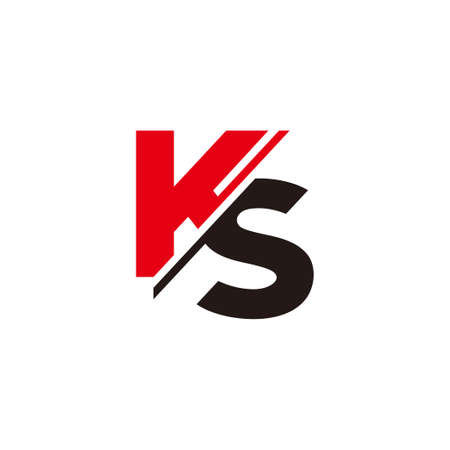 letter ks simple slice geometric logo vector
