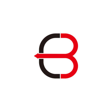 letter cb motion arrow simple geometric logo vector