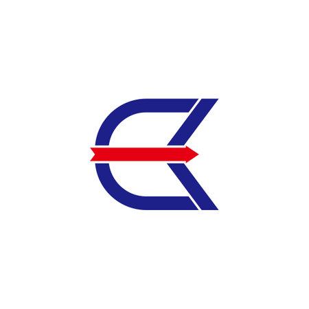 letter ck abstract bow arrow simple geometric logo vector