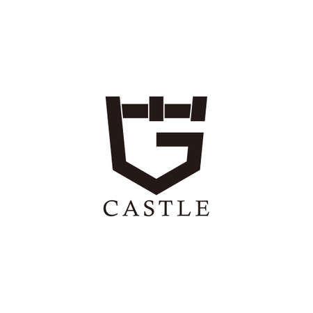 letter g castle shape simple geometric logo vector