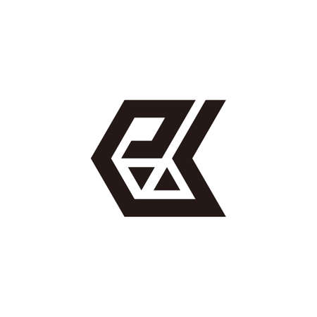 abstract letter ek simple geometric triangle mosaic arrows logo vector Ilustração