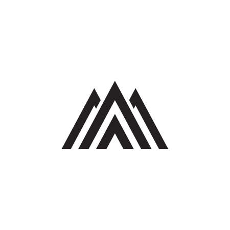 letter m triangle mountain stripes geometric logo vector