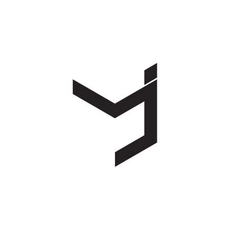 letter mj simple geometric linear flat logo vector