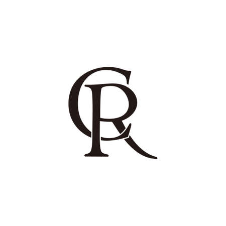 letter cr simple linked overlap flat design logo vector