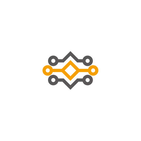electronic circuit line wire connection symbol logo vector