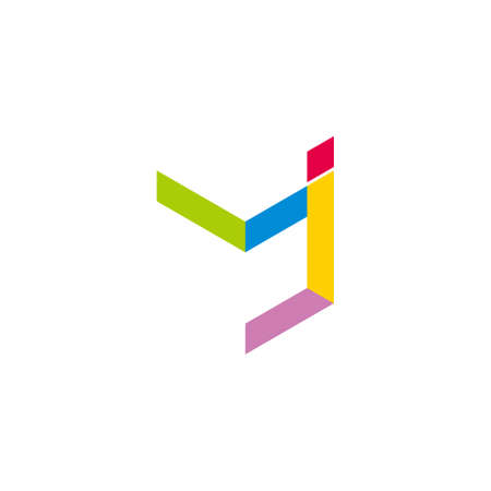 vector of abstract letter mj simple geometric colorful logo