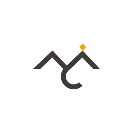 letter m abstract mountain street simple logo vector