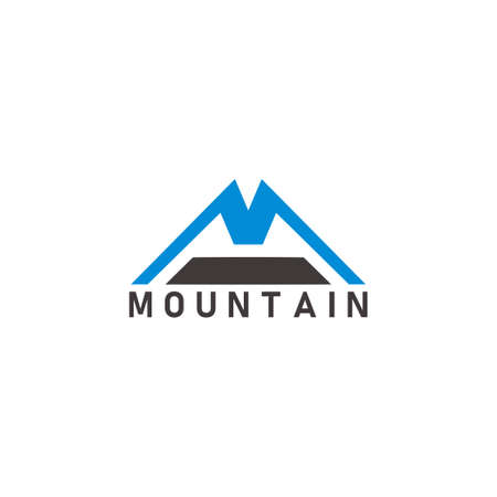vector of letter m mountain simple geometric line logo vector Ilustração