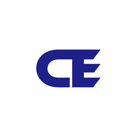 abstract letter ce simple geometric line logo vector