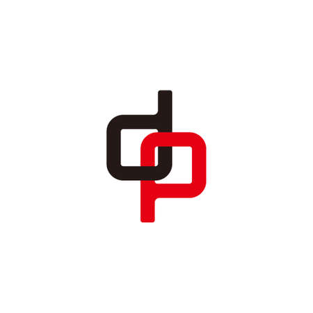 letter dp linked overlapping colorful symbol vector