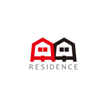 vector of home residence colorful simple flat design logo