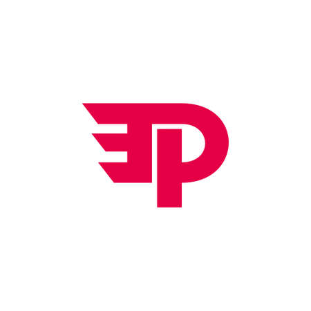 vector of letter pe simple geometric motion logo