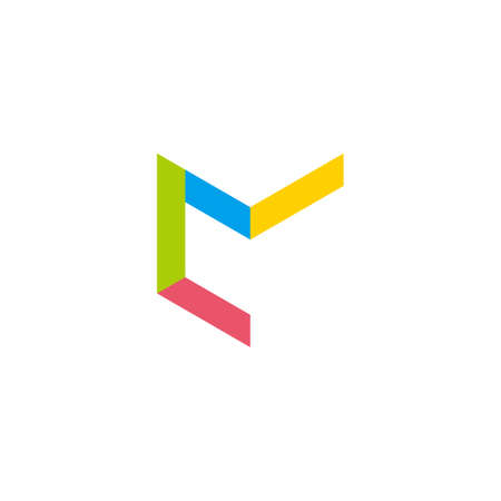vector of letter cm simple geometric linear colorful logo Ilustração