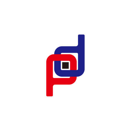 letter pd linked geometric dot square colorful logo vector Ilustração