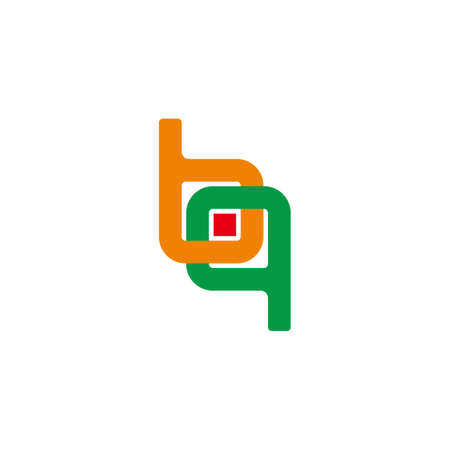 letter bq linked geometric dot square colorful logo vector