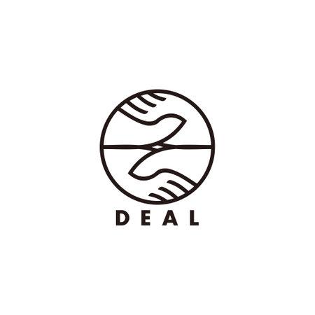 vector of hand shake deal geometric line decoration symbol Ilustración de vector