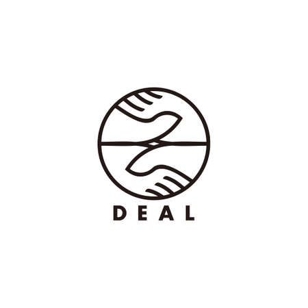 vector of hand shake deal geometric line decoration symbol