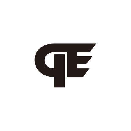 letter qe simple geometric line logo vector