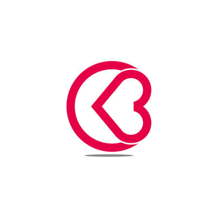 abstract letter cb love heart care symbol logo vector