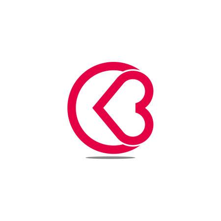abstract letter cb love heart care symbol logo vector