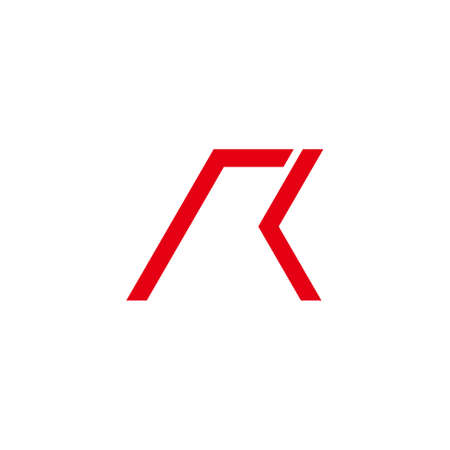 letter rk simple geometric arrow motion logo vector