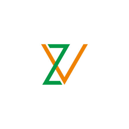 letter zv simple link colorful line geometric logo vector