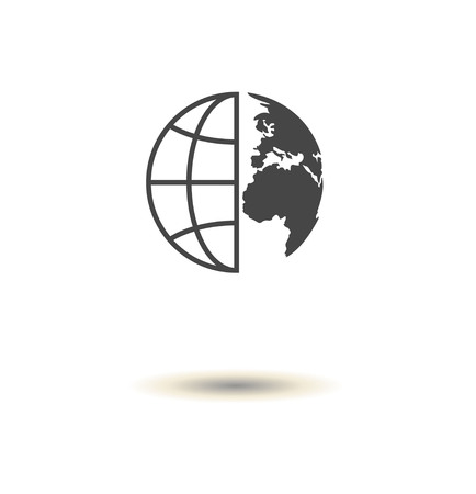 Flat globe vector icon. Thin line art Stock Illustratie