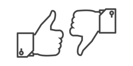 Like and Dislike button. Thin line vector icon