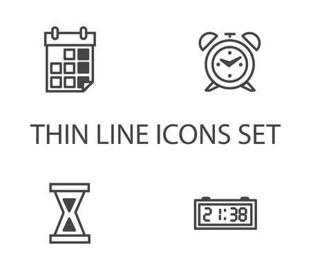 Time clock icons set. Thin line vector icon Stock Illustratie