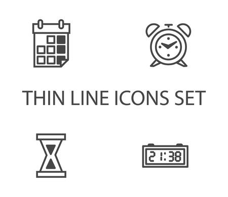 Time clock icons set. Thin line vector icon Ilustração