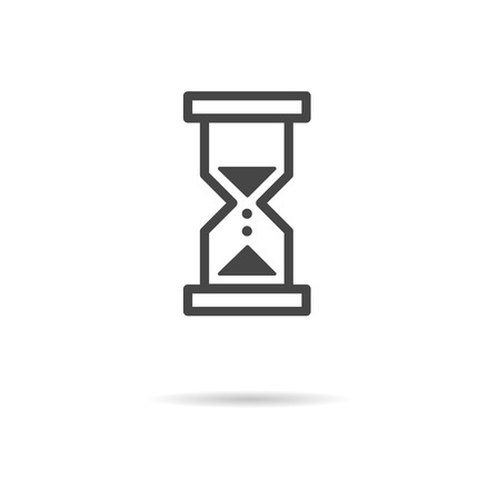 trickling: Flat icon of hourglass. Thin line vector illustration.