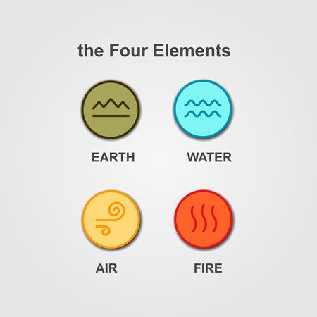 Ensemble de 4 éléments - le feu, l'eau, l'air, la terre