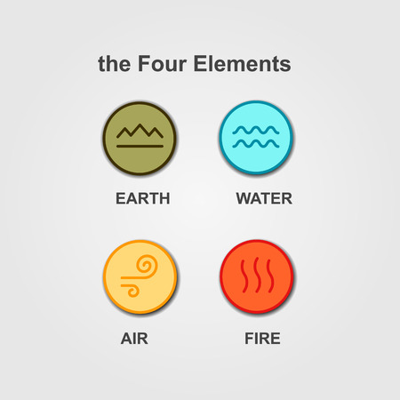 Set of 4 elements - fire, water, air, ground Illustration
