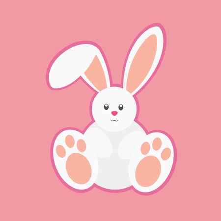 White happy easter rabbit. Funny Easter Bunny. Ilustração