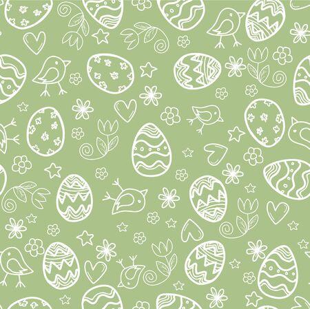 Naadloze doodle Pasen patroon met paaseieren Stockfoto - 54021008